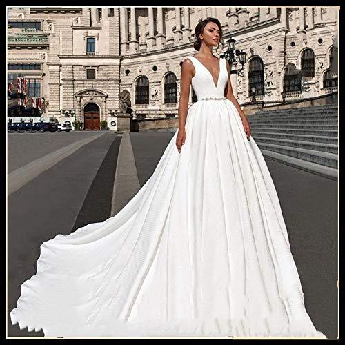 QING XIN-1225 Ballkleid,brautkleid Satin Ballkleid Brautkleid Perlen V-Ausschnitt ärmellos Backless Luxus Princess Bride Kleid Vestido De Noiva Abendkleid,Abendkleider elegant für Hochzeit