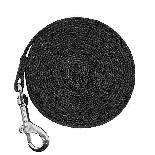 Justzon Cotton Web Dog Training Lead Black (15-Feet)