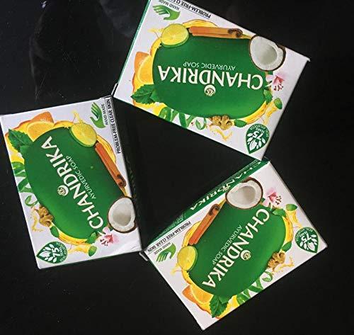 3 Chandrika Ayurvedische Seife sehr effektiv für die empfindliche Haut mit ätherischen Ölen 75 g (3 Stück)