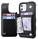 Restoo Compatible with iPhone 12/12 Pro Case,Wallet Case with Card Holder PU Leather 4 Card Slot Back Flip Cover for iPhone 12/12 Pro 6.1 inch,Black