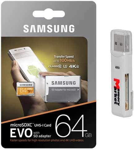 Samsung 64GB MicroSD XC Class 10 Grade 3 UHS-3 Mobile Memory Card up to 100MB/s Read Speed (MB-MP64GA) with MicroSD to SD Adapter, USB 2.0 MemoryMarket Dual Slot MicroSD SD Memory Card Reader