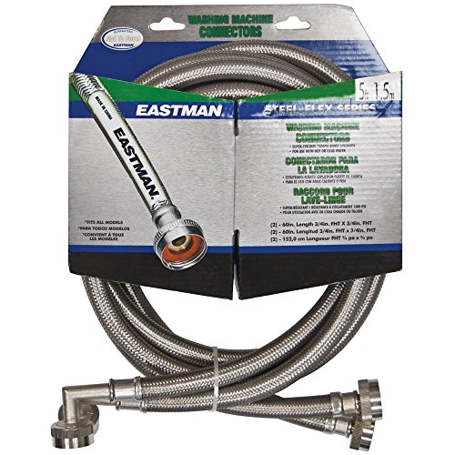 Eastman 41065 Stainless Steel Washing Machine Hose with Elbow, 5 Ft Pair, Silver
