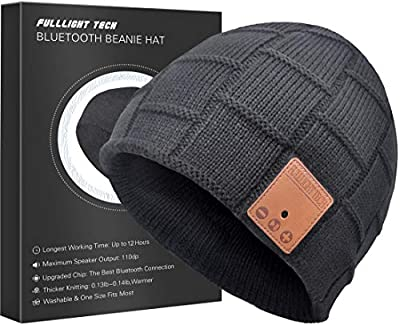 Upgraded V4.2 Bluetooth Beanie Hat Headphones Wireless Headset Winter Music Speaker Hat Cap with Stereo Speakers & Mic Unique Christmas Valentines Day Tech Gifts for Women Mom Her Men Teens Boys Girls from FULLLIGHT TECH