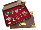 tengeer The Legend of Zelda Twilight Princess & Hylian Shield & Master Sword Finest Collection Sets Keychain/Necklace/Jewelry Series (Red)