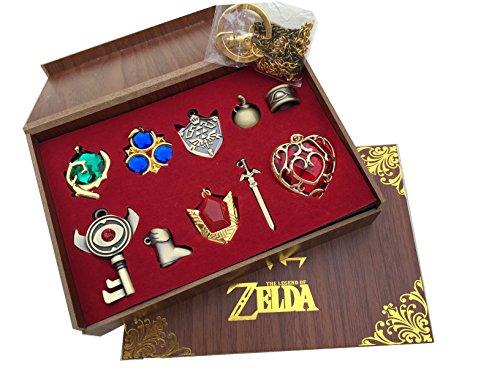 Legend of Zelda Twilight Princess & Hylian Shield & Master Sword Juego de llavero/collar/serie de joyas