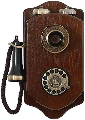 Dirgee Reparado Teléfono Colgando Pared Antiguo Teléfono Vintage Madera Sling Machine Machine, Estudio de Sala Estudio Retro Inicio Oficina Teléfono Decoración