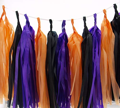 Halloween Garland, Orange, Black & Purple October Party Tassels (Set of 15) - Spooky Party Supplies, Halloween Tissue Paper Tassel, Halloween Birthday Party Decorations Banner Backdrop