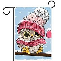ガーデンフラッグ、屋外看板吊り飾り、冬フクロウ鳥が大好きです 、テラス鉢植えデッキ用28x40インチ