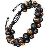 Bracelet en pierre naturelle pour les hommes, Braceletréglable de perlesavec huile essentielle Yoga comme Diffuser Bracelet pour hommes (grosse pierre de lave et œil de tigre jaune)