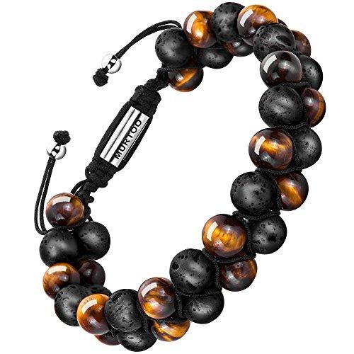 murtoo Bracelet en Pierre Naturelle pour Les Hommes, Braceletréglable de perlesavec Huile Essentielle Yoga comme Diffuser Bracelet pour Hommes (Grosse Pierre de Lave et œil de Tigre Jaune)