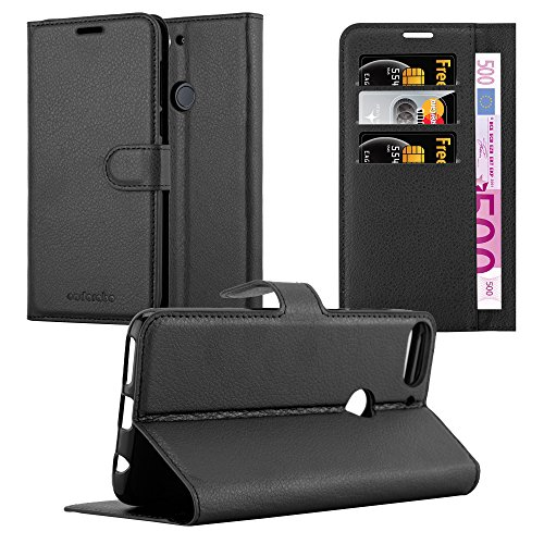 Cadorabo Hülle für HTC Desire 12 Plus - Hülle in Phantom SCHWARZ – Handyhülle mit Kartenfach & Standfunktion - Hülle Cover Schutzhülle Etui Tasche Book Klapp Style