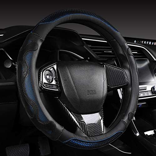 Fashion 3D Honeycomb Design Ergonomic PU Leather Steering Wheel Cover with Grip Bumps, Blue, 15 Inch Standard Non Slip Breathable Steering Wheel Cover for Car, Truck, SUV Automotive Interior Decor