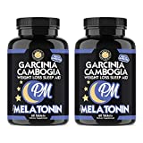 Garcinia Cambogia PM Weight Loss Sleep Aid, All Natural Supplement w/Valerian Root & Melatonin to Help Burn Fat Overnight, Night Time Appetite Suppressant, Vegetarian Formula (2-Bottles)