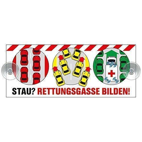 Schild mit 2 Saugnäpfe - Stau ? Rettungsgasse bilden ! - 309522 - Gr. ca. 21 x 8,5 cm