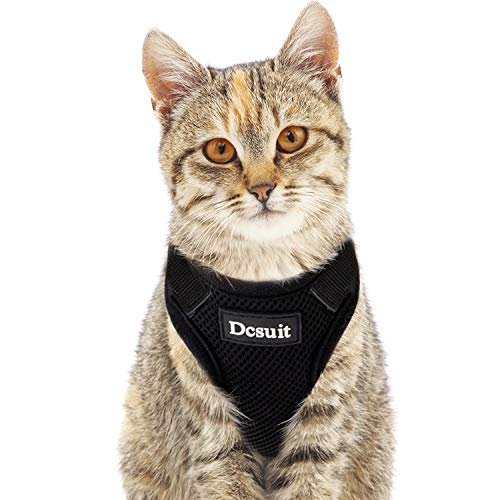 ADCSUITZ Cat Harness and Leash Set,Escape Proof Walking Outdoor Safety Soft Mesh Breathable Body Harnesses,Personalized Black Adjustable Vest Top Lightweight Comfort for Kitten/Puppy/Small Animals