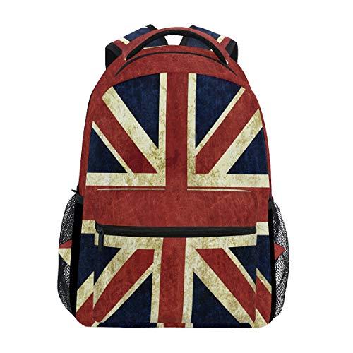 Mnsruu Retro Union Jack Britische Flagge Rucksack Daypack College Schule Reise Schultertasche