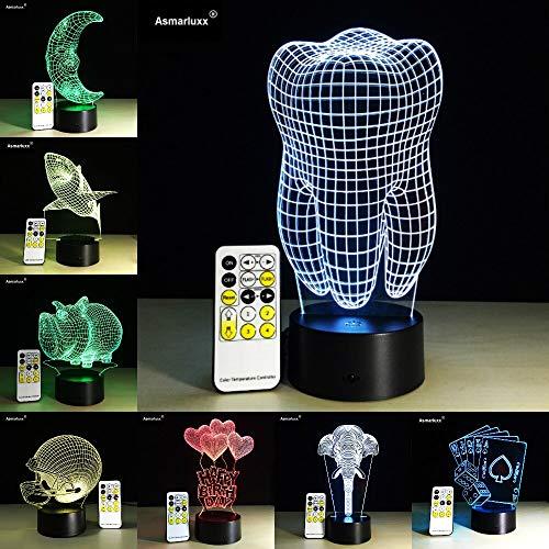jiushixw 3D acryl nachtlampje met afstandsbediening van kleur veranderende tafellamp inzetten tafellamp