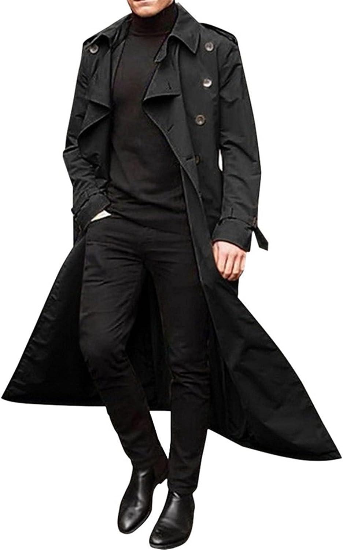 Men Autumn Winter Fashion Easy Solid Color Lapel Warm Coat Long Casual Windproof Windbreaker Handsome Tops Cardigan