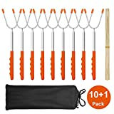 MASSUGAR Marshmallow Roasting Sticks 10 Pack Extra Long 45' Stainless Telescoping Hot Dog Smores Skewers Kids Safe Barbecue Forks for Camping, Campfire, Bonfire Kids, with 10 Bamboo Skewers (10 Pack)