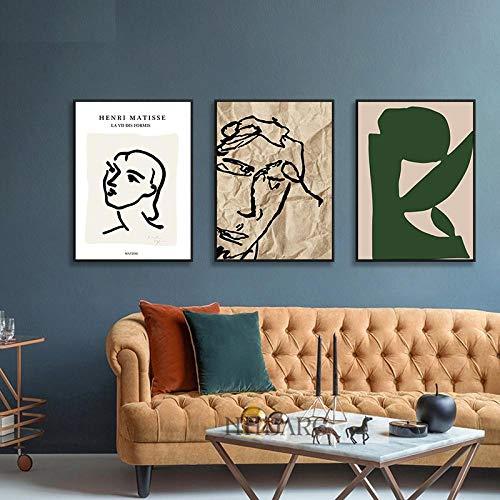 MXK Impresiones en Lienzo Carteles e Impresiones Retro de Moda Pintura Retrato Abstracto Cita Imagen de Arte de Pared para decoración del hogar 50x70cm Sin Marco