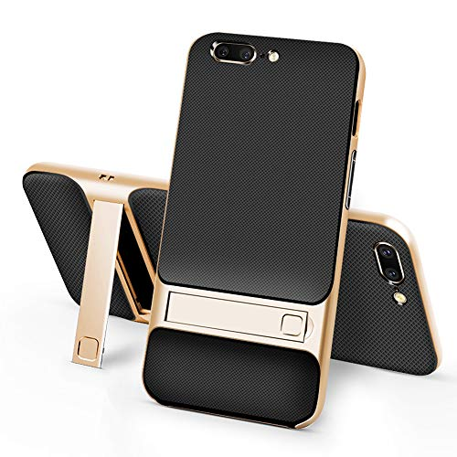 stilluxy One Plus 5 Case Compatible with Oneplus 5 Cover Kickstand Luxury 1plus Oneplus5 with Stand Matt Cell Phone Cases Protective Skin Coque (Gold)