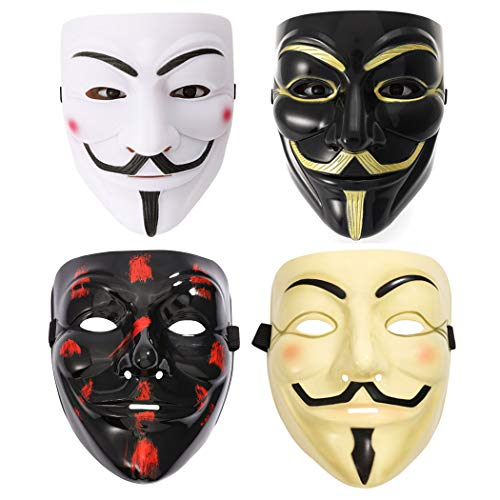 Fstrend V for Vendetta Guy Mask Halloween Costume Cosplay Masquerade Prop Bar Party Masks Unisex