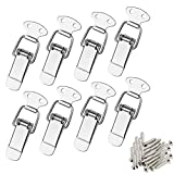 8Pcs Stainless Steel Spring Loaded Toggle with 32Pcs Mounting Screws, AUHOKY Premium Latch Catch Hasps Clamp Clip for Case Box Chest Trunk(72mm Overall Length)