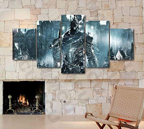 Murosn Modular Wall Sticker Decor,Prints On Canvas,5 Piece Painting,Mural Poster,Dark Souls 3 Knight Artorias Juego póster Lienzo impresión Arte decoración pared-150 * 80cm