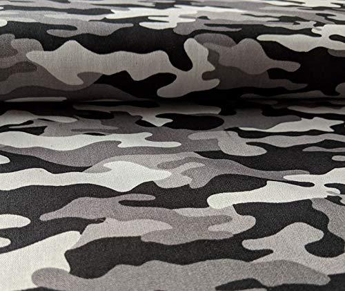 Baumwollstoff mit Camouflage Musterung Schwarz/Weiß als Meterware zum Nähen von Kinder- und Baby Kleidung, 50 cm