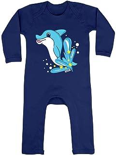 HARIZ HARIZ Baby Strampler Delfin Springend Tiere Kindergarten Inkl. Geschenk Karte Matrosen Dunkel Blau 3-6 Monate