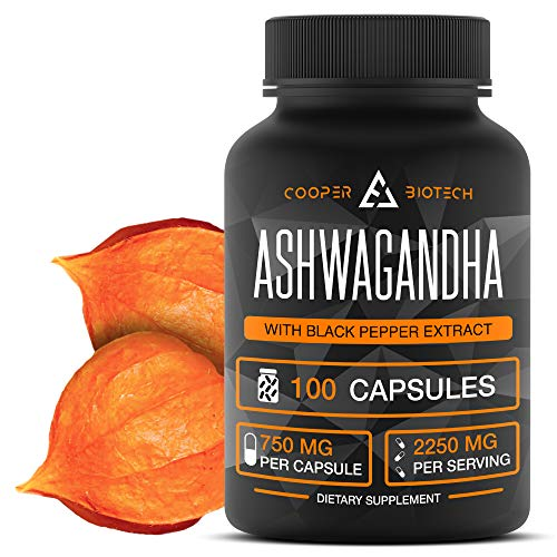 Ashwagandha - 100 Capsules 2250MG - Stress Relief - Anti Anxiety - Mood Enhancer - Organic Ashwagandha Root Powder Extract - Cortisol & Adrenal Support - Adrenal Fatigue - Thyroid Support Supplements