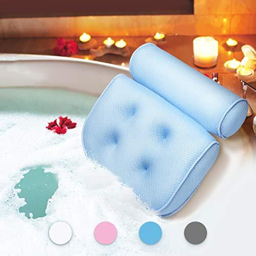 Essort Badewannenkissen,Komfort badewanne kopfkissen mit Saugnäpfen, badewanne nackenpolste für Home Spa Whirlpools, Blau Kopfstütze (38 x 36 x 8.5 cm)