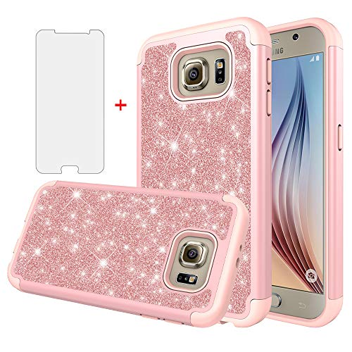 Asuwish Phone Case for Samsung Galaxy S6 with Tempered Glass Screen Protector Cover Cell Accessories Bling Glitter Slim Hybrid Rugged Protective Glaxay 6s S 6 GS6 SM-G920V G920A Girls Women Rose Gold