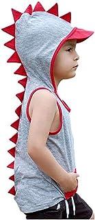 ベビー服 おもしろ キッズ 夏服 男の子 トップス ベスト 子供用 ノースリーブ 漫画 恐竜 パーカー トップ tシャツ かっこいい 6ヶ月ー4歳