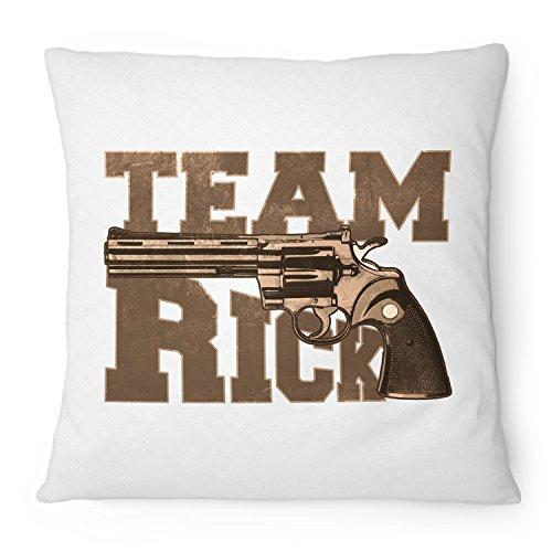 Fashionalarm Kissen Team Rick - 40x40 cm mit Füllung | Geschenk Idee für Fans der Serie T-W-D | Dead Walking Grimes Revolver Colt Python, Farbe:weiß