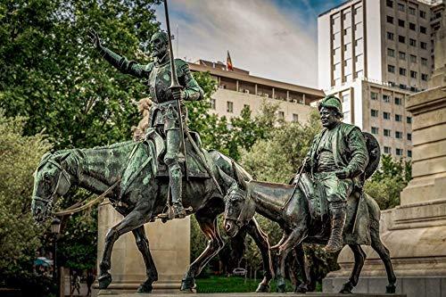 LFNSTXT Rompecabezas para adultos, 1000 piezas, caballos, España, Madrid, Monumentos Don Quijote, Rompecabezas para adultos, familias y niños, juguete educativo para decoración del hogar (70 x 50 cm)