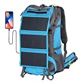 External Frame Hiking Backpack 68L with 20 Watts Solar Charger Panel (Blue)