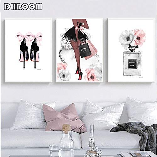 Mode Wandkunst Parfüm Lippen Poster Nordic Print High Heel Leinwand Shop Dekoration Malerei Frau Bild von Wohnzimmer Schuhbeutel Store Moderne Dekoration