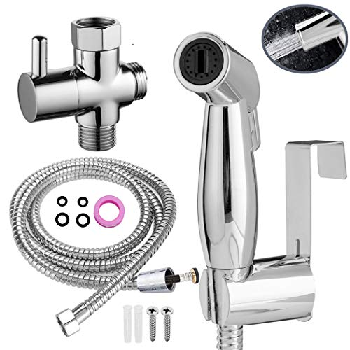 FLPMIX Handheld Bidet Sprayer for Toilet - Can Be Hot and Cold Water - Adjustable Pressure Control Sprayers Kit for Toilet, Baby Cloth Diaper, Bathroom Cleaner, Pet Shower, Personal Hygiene(Chrome)