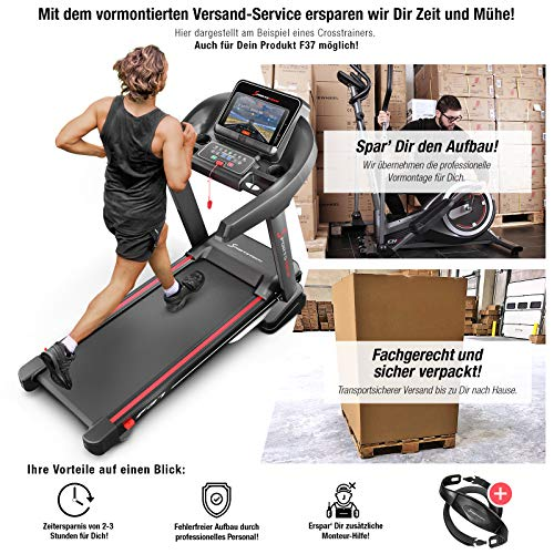 Sportstech F37 Profi Laufband-Deutsche Qualitätsmarke- Video Events & Multiplayer APP, 7PS bis 20 km/h + Schmiersystem, Klappbar, große Lauffläche, TÜV/GS, Pulsgurt inklusive, Lautsprecher, bis 150kg