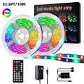 LED Strip Lights,YLCVBUD 32.8ft/10M 3528 SMD RGB Rope Lights Music Sync Color Changing, Rope Light 600 SMD, IR Remote Controller Flexible Strip for Home Party Bedroom Party Indoor Outdoor
