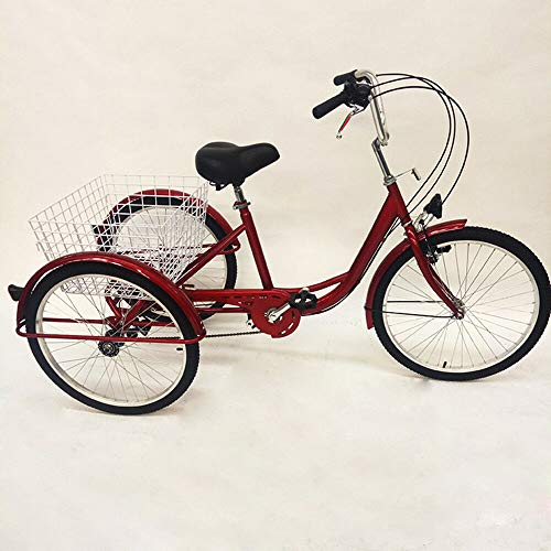 DIFU Dreirad Erwachsene Damenfahrrad 3 Rad Fahrrad 24 Zoll 6 Geschwindigkeit Rot Tricycle mit Licht und Korb für City Outdoor Sports Shopping