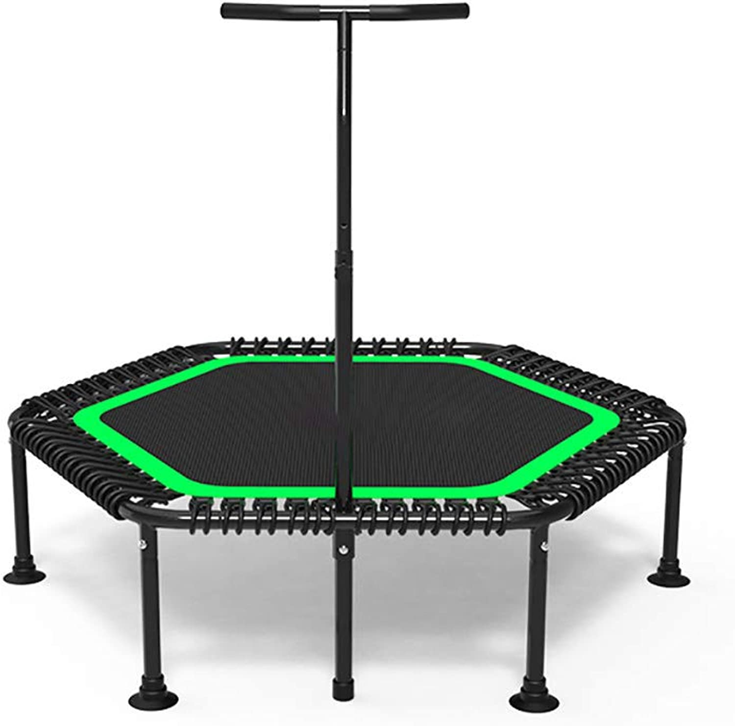 Folding Indoor Trampoline, Portable Exercise Trampoline  with Adjustable Handrail and Safety Pad for Kids Adults, Covered Bungee Rope System – Max Limit 330 lbs 50