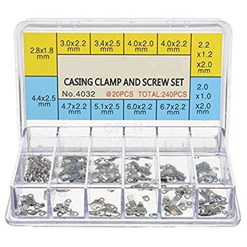 Vaorwne 240 StüCke Uhr GEH?Use Klemm Bewegung Sicherung Schraube Unterlegscheibe Reparatur Teil Werkzeuge mit Box für ETA 2824 2836 2846