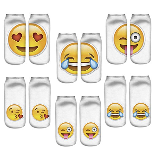 Zmart Funny Chat Emoticon Crew Socks Lovely Facial Expressions Short Socks,Multicoloured,US 5-9