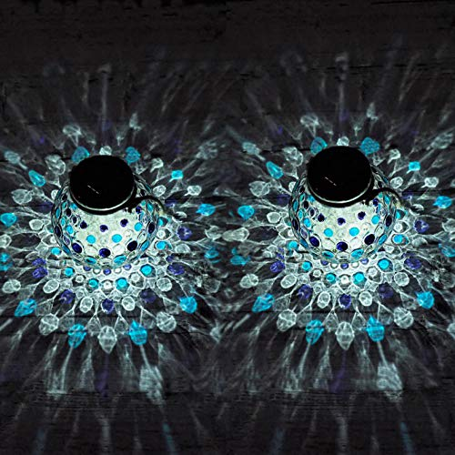 Gadgy  Set Lampara Solar Mesa Azul | 2 Piezas Hecho de Vidrio | Lanterna LED de Efecto Luz Mosaico | Para Casa, Jardin, Exterior | Mirada Unica[Clase de eficiencia energética A++]