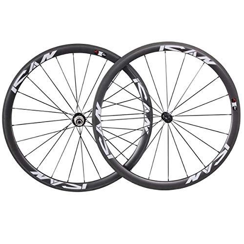 TRIAERO 700C - Bicicleta de carretera ligera, ruedas de carbono, ruedas de alambre de 38 mm, superficie de freno, freno, solo 1420 g