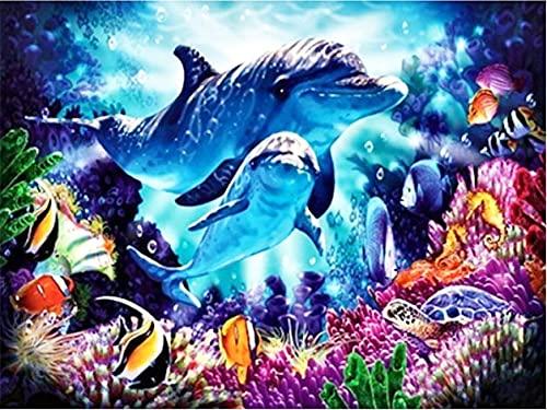 Pintura de diamante Animal bordado de diamantes delfín punto de cruz diamantes de imitación imagen de artesanía pintura de diamante A9 40x50cm