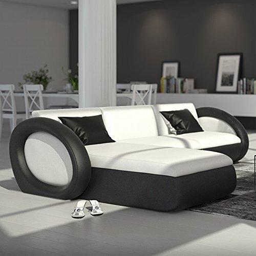 SalesFever Polster-Ecke mit Kunstleder Bezug weiß/schwarz 230x173 cm   Nassiono-L   Design Sofa-Garnitur in L-Form Recamiere Links   Eck-Sofa für Wohnzimmer Weiss/schwarz 230cm x 173cm