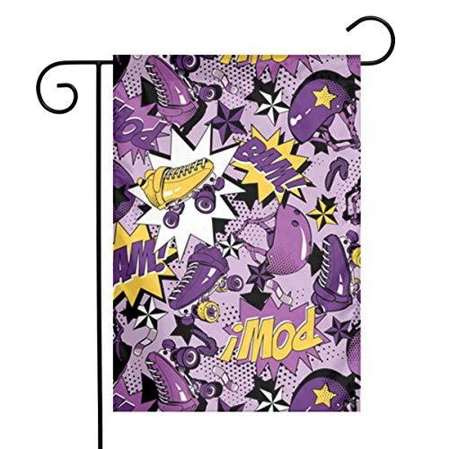 WU4FAAR Rollschuh-Flagge, 30,5 x 45,7 cm, Blumenmuster, Garten-Flagge, Banner für Zuhause, dekoratives Haus- und Hofschild, Rollschuhe, 12